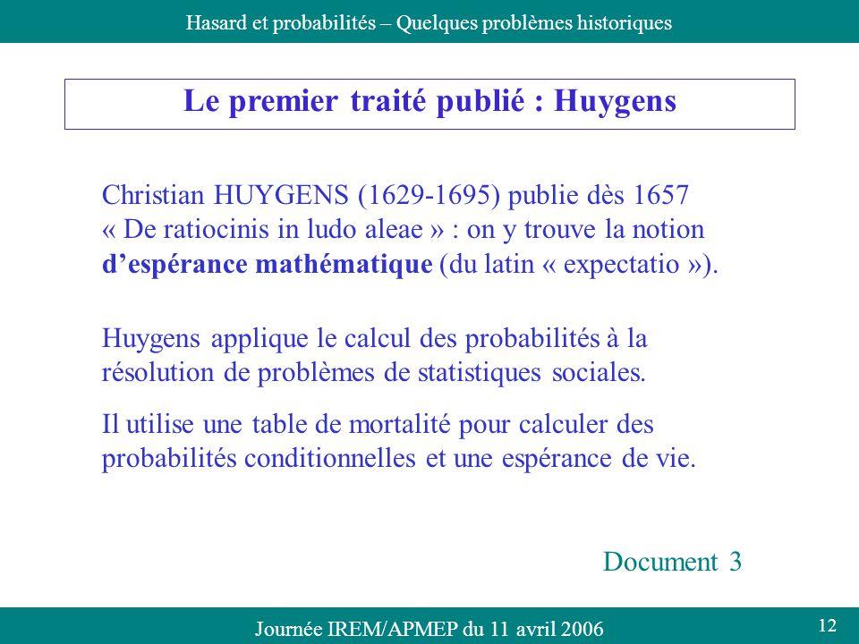 Le premier traité publié : Huygens