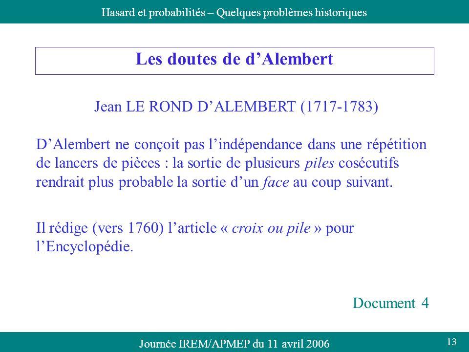 Les doutes de d'Alembert