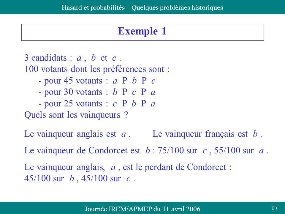 Exemple 1 3 candidats : a , b et c .