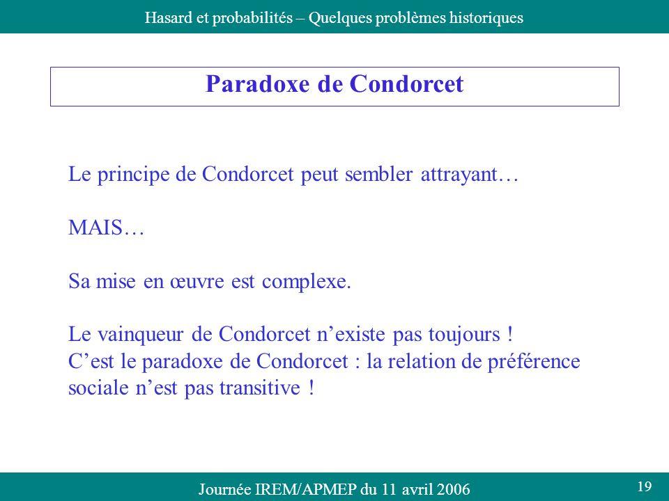 Paradoxe de Condorcet Le principe de Condorcet peut sembler attrayant…