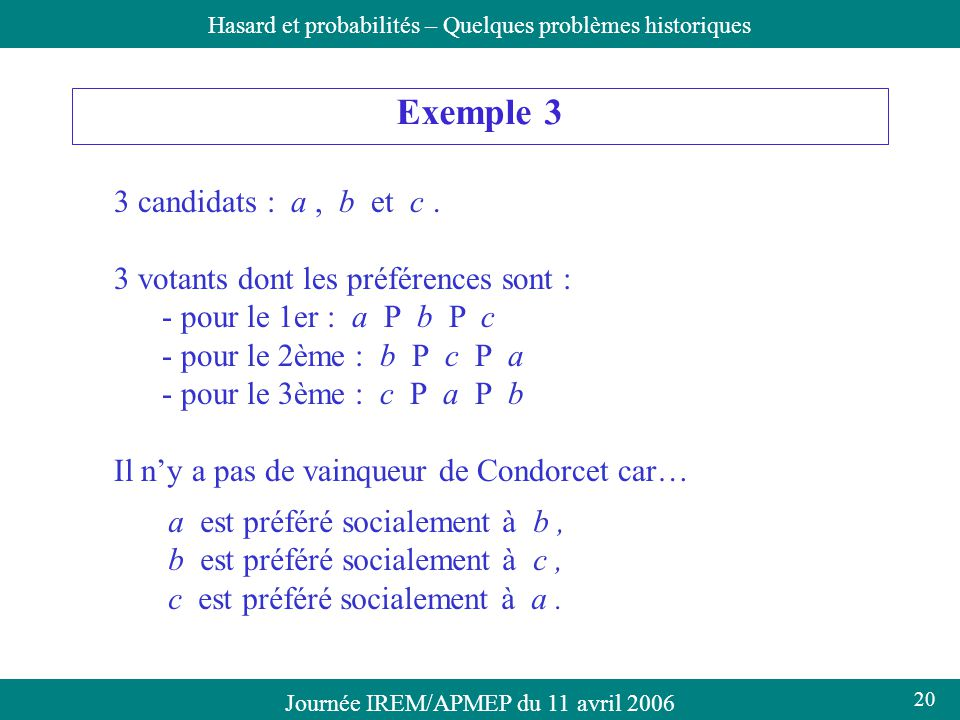 Exemple 3 3 candidats : a , b et c .