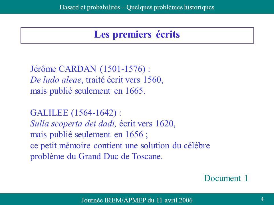 Les premiers écrits Jérôme CARDAN (1501-1576) :
