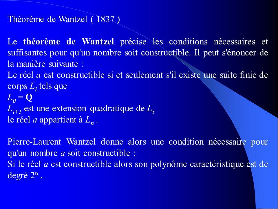 Théorème de Wantzel ( 1837 )