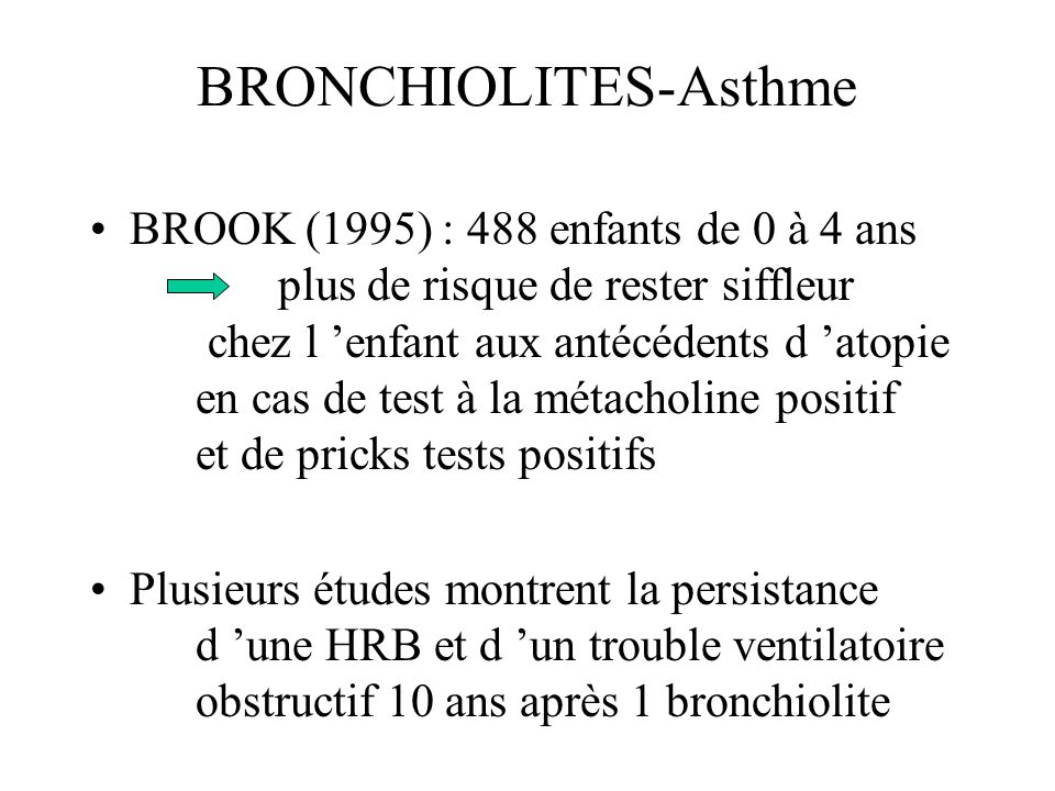 BRONCHIOLITES-Asthme