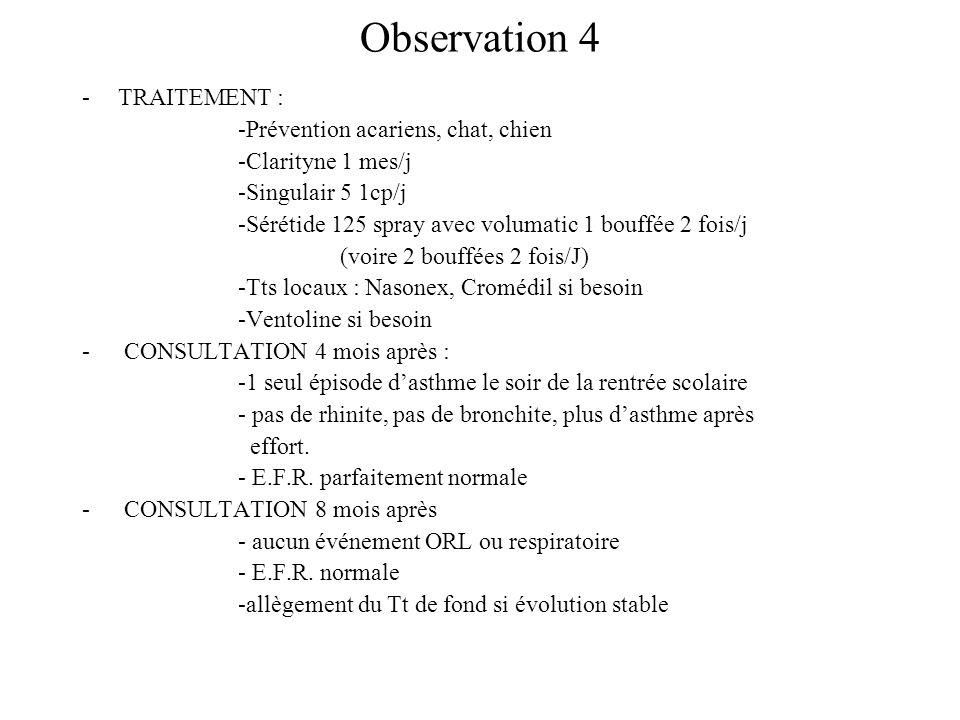 Observation 4 TRAITEMENT : -Prévention acariens, chat, chien