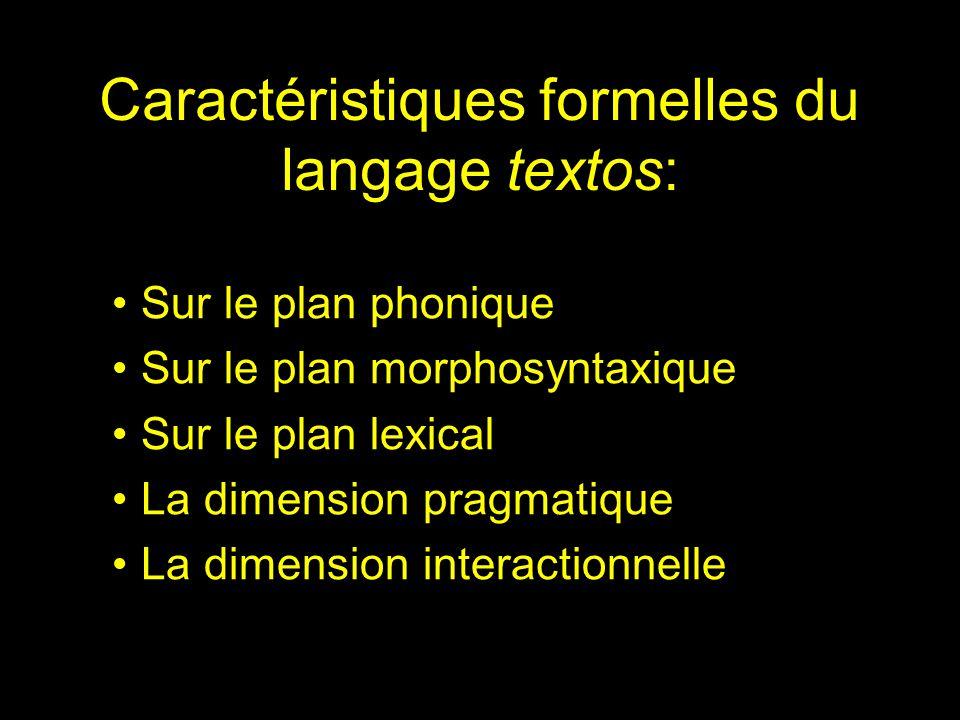 Caractéristiques formelles du langage textos: