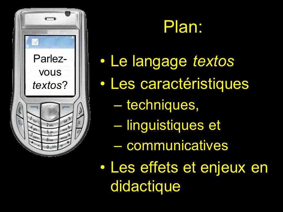Plan: Le langage textos Les caractéristiques