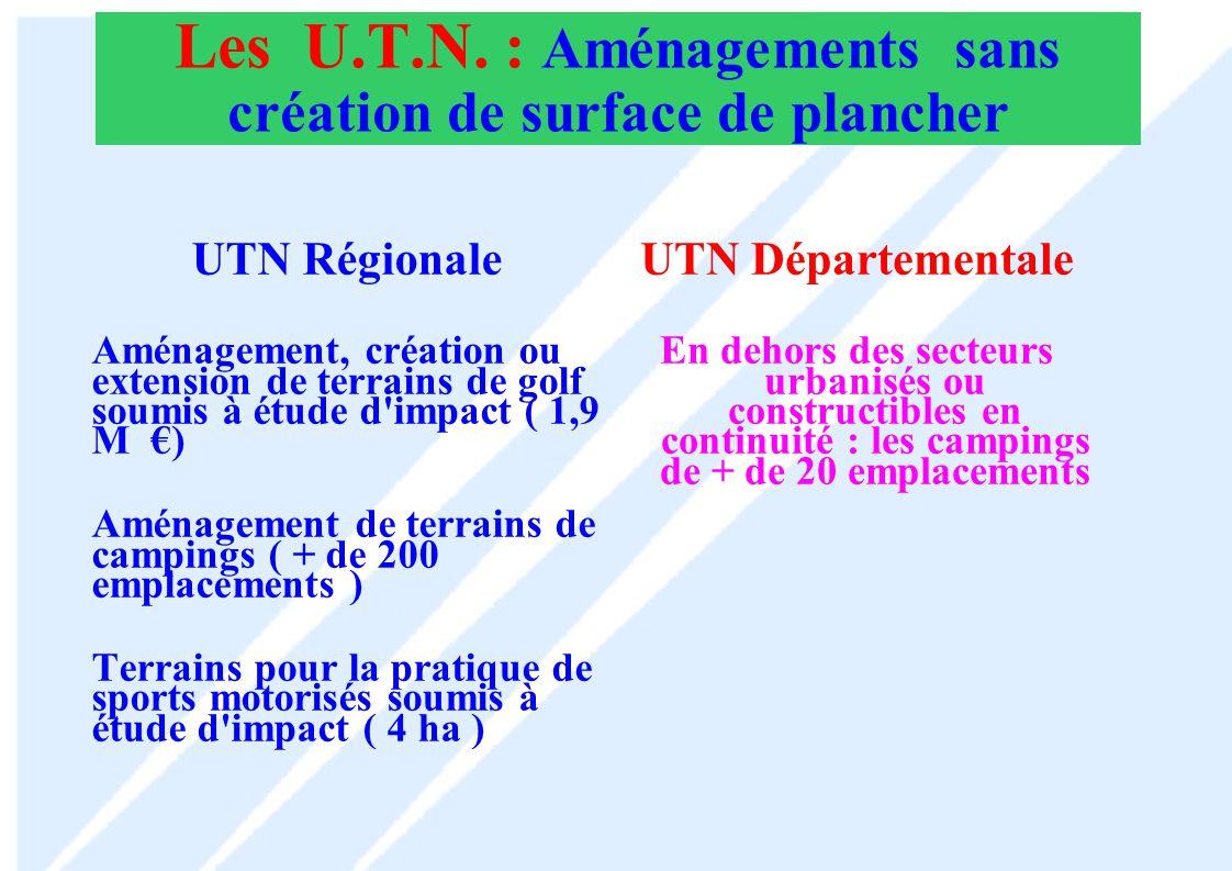 Les U.T.N. : Aménagements sans création de surface de plancher
