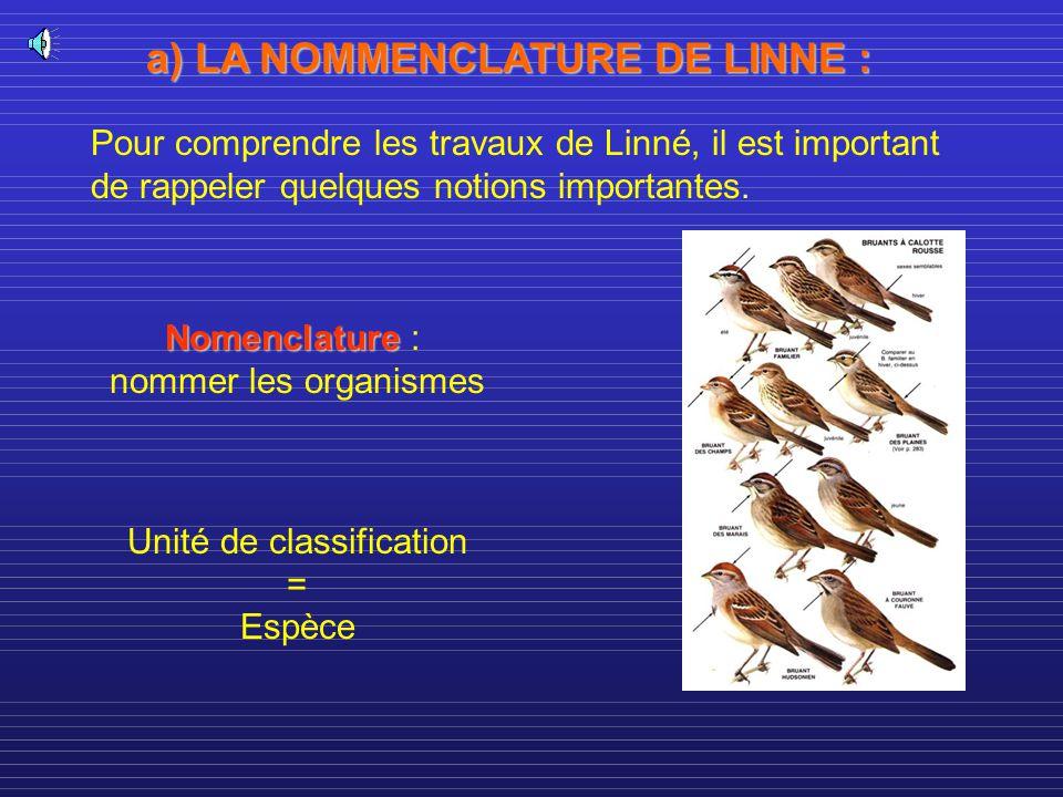 a) LA NOMMENCLATURE DE LINNE :