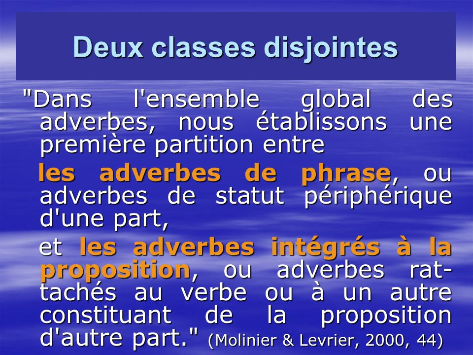 Deux classes disjointes