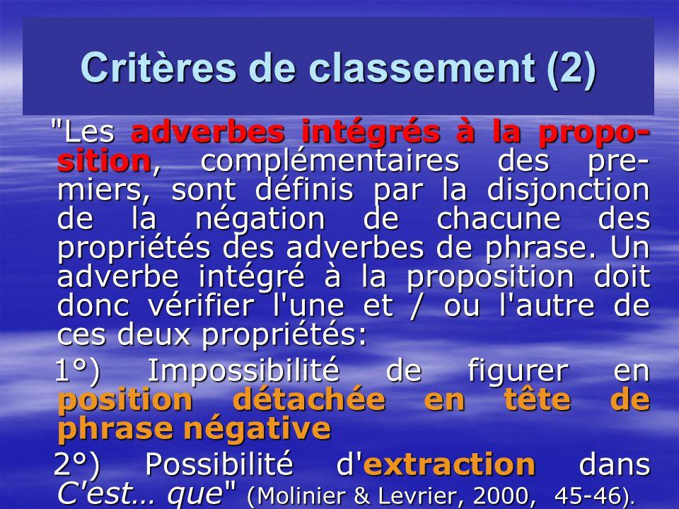 Critères de classement (2)