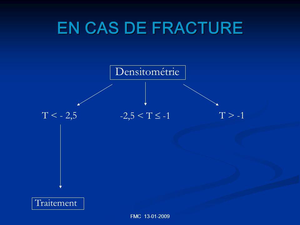 EN CAS DE FRACTURE Densitométrie T < - 2,5 -2,5 < T  -1