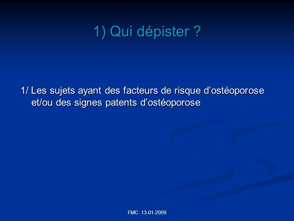 1) Qui dépister 1/ Les sujets ayant des facteurs de risque d'ostéoporose et/ou des signes patents d'ostéoporose.