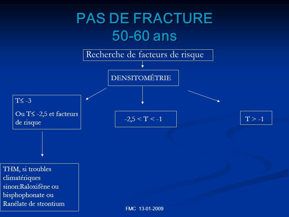 PAS DE FRACTURE 50-60 ans Recherche de facteurs de risque