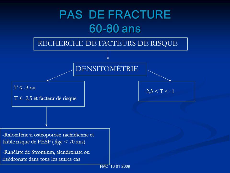 PAS DE FRACTURE 60-80 ans RECHERCHE DE FACTEURS DE RISQUE