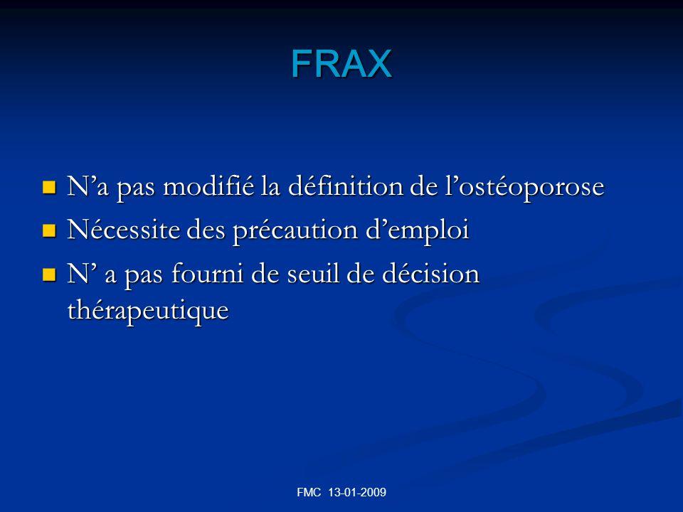 FRAX N'a pas modifié la définition de l'ostéoporose