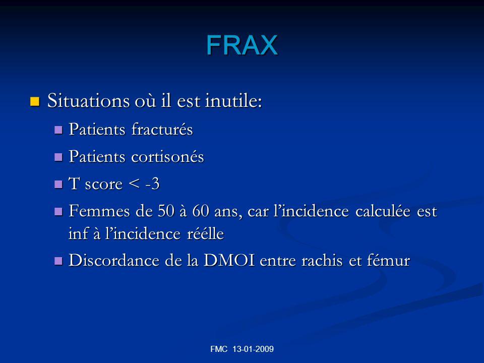 FRAX Situations où il est inutile: Patients fracturés