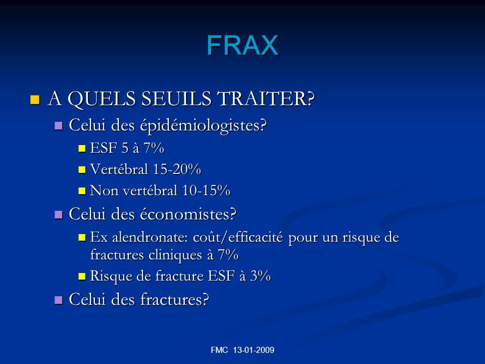 FRAX A QUELS SEUILS TRAITER Celui des épidémiologistes
