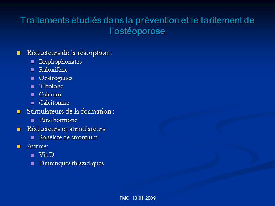 Traitements étudiés dans la prévention et le taritement de l'ostéoporose
