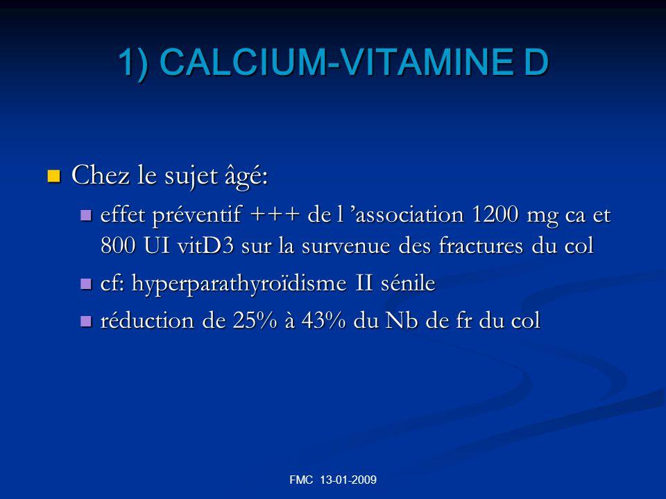 1) CALCIUM-VITAMINE D Chez le sujet âgé: