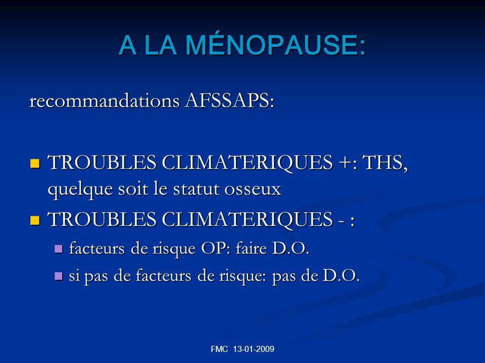 A LA MÉNOPAUSE: recommandations AFSSAPS: