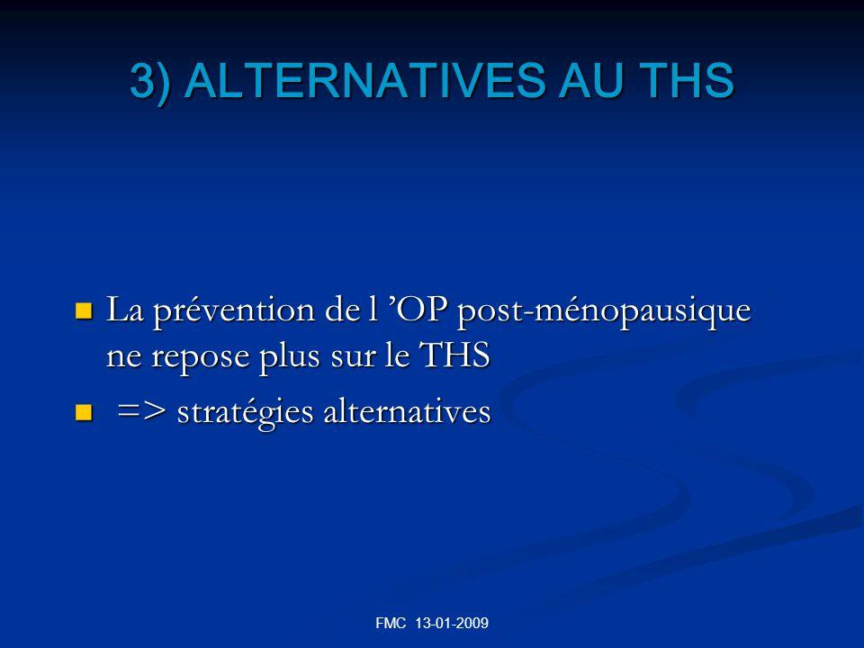 3) ALTERNATIVES AU THS La prévention de l 'OP post-ménopausique ne repose plus sur le THS. => stratégies alternatives.