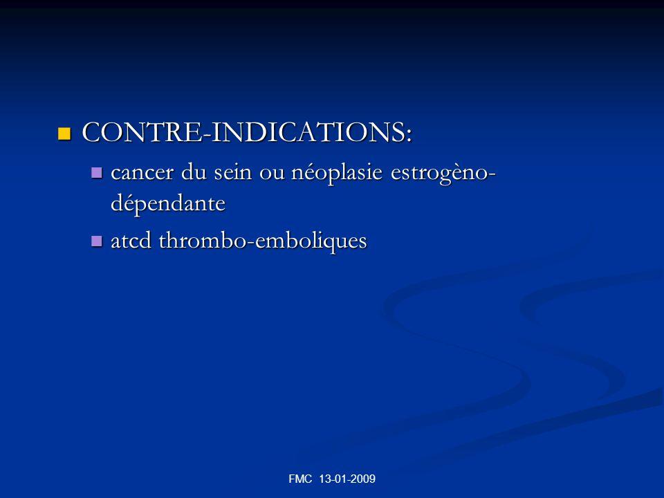 CONTRE-INDICATIONS: cancer du sein ou néoplasie estrogèno-dépendante