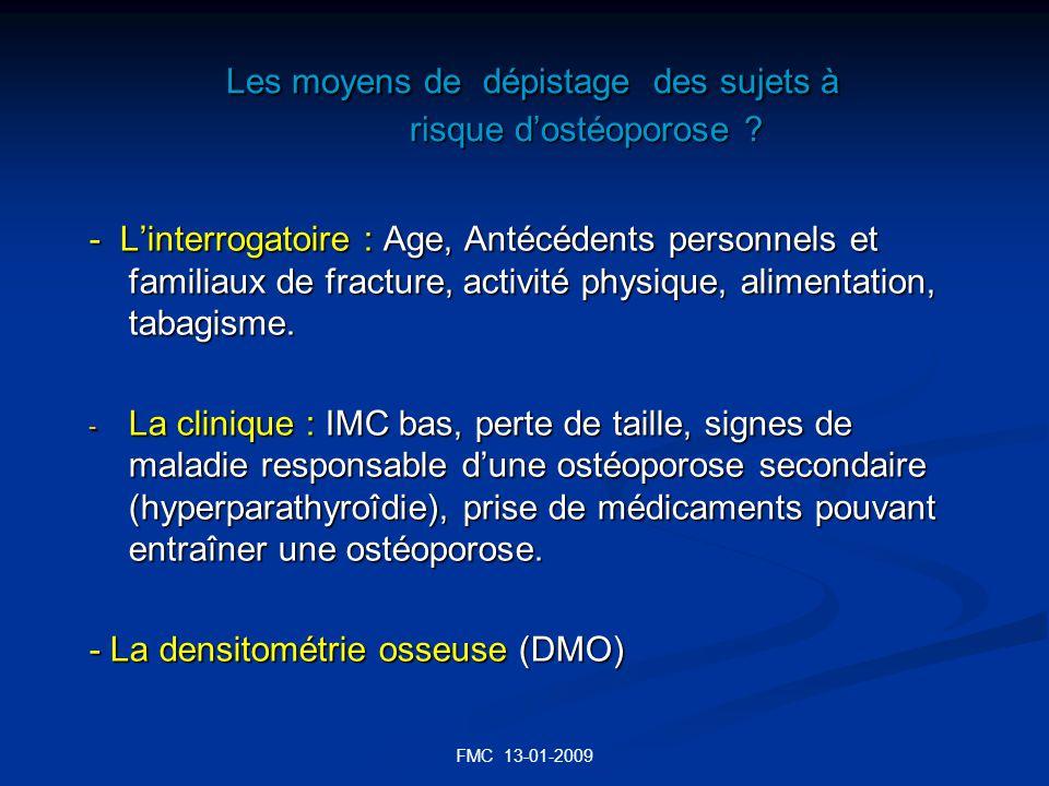 Les moyens de dépistage des sujets à risque d'ostéoporose