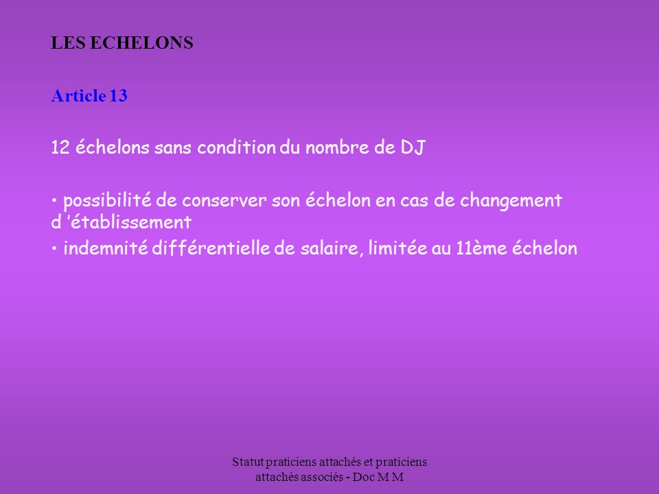 Statut praticiens attachés et praticiens attachés associés - Doc M M