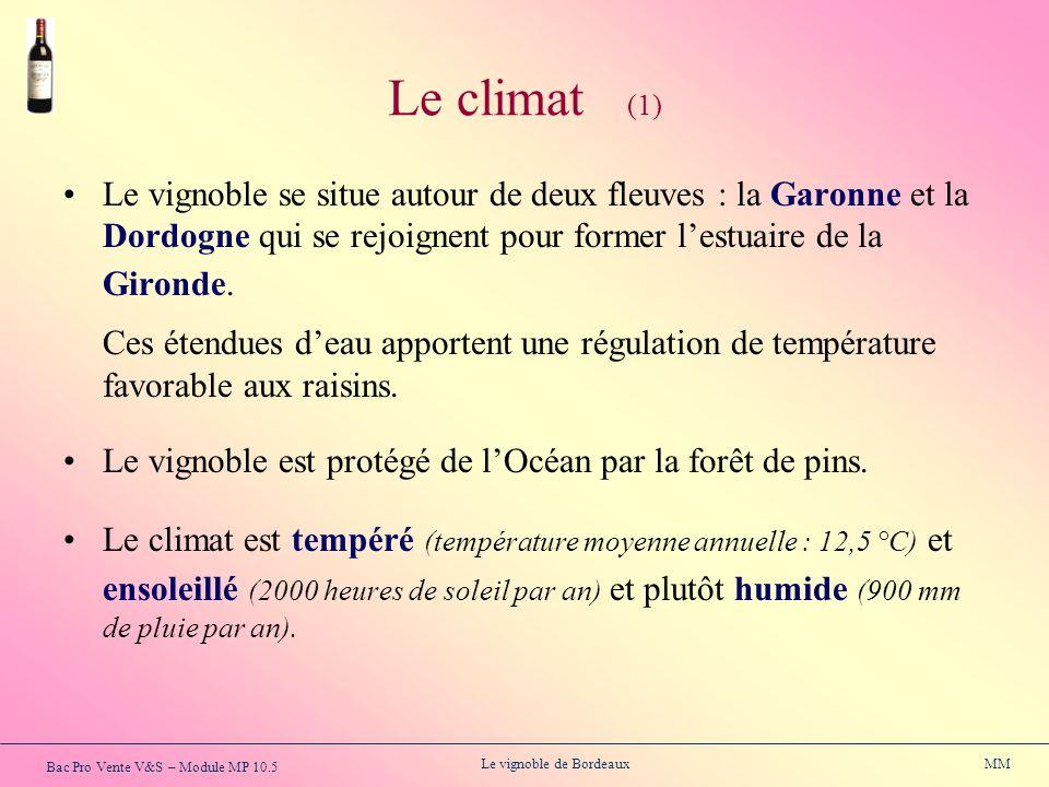 Le climat (1) Le vignoble se situe autour de deux fleuves : la Garonne et la Dordogne qui se rejoignent pour former l'estuaire de la Gironde.