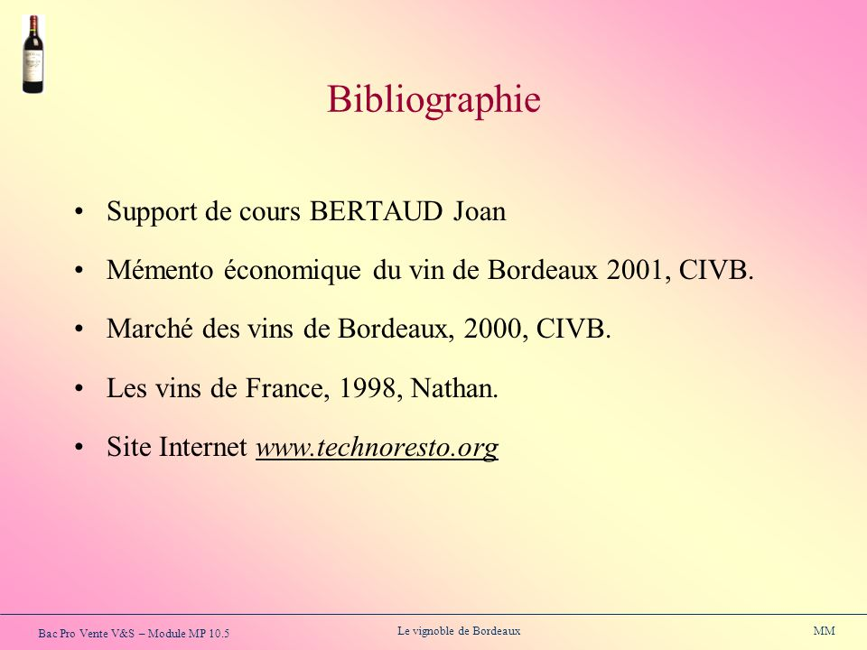 Bibliographie Support de cours BERTAUD Joan