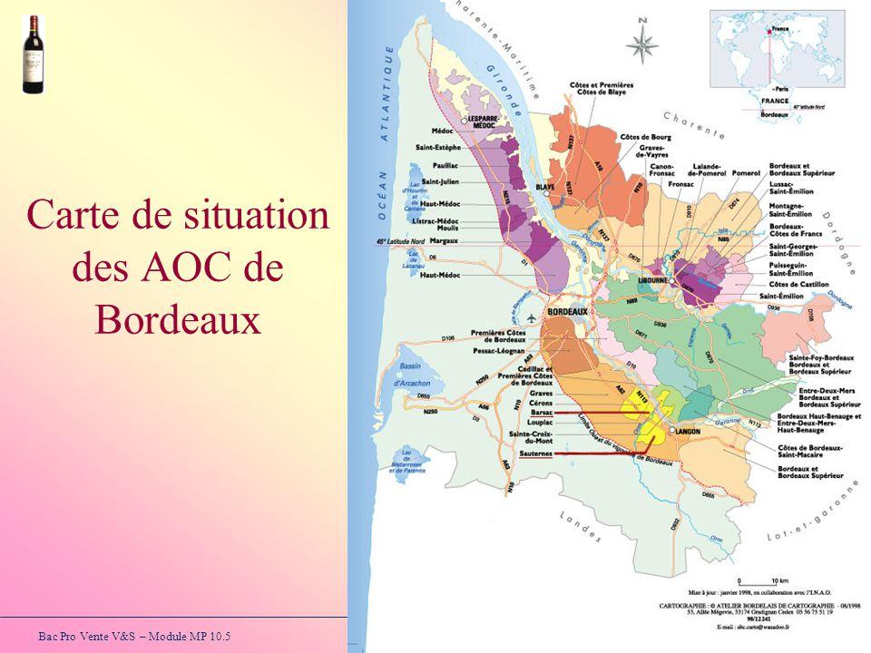 Carte de situation des AOC de Bordeaux