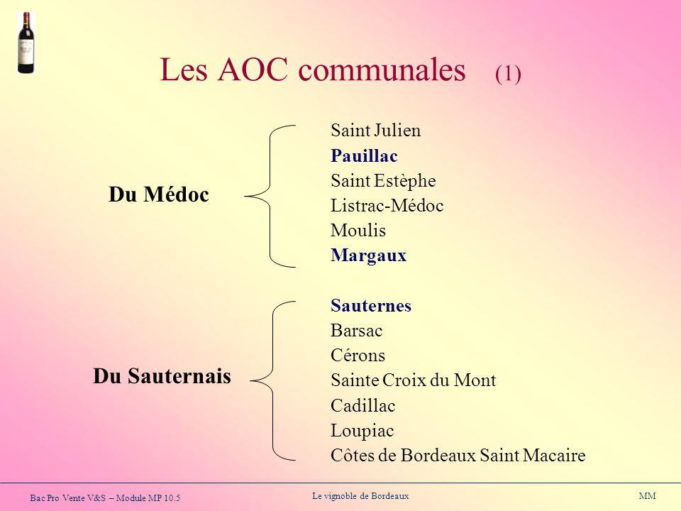 Les AOC communales (1) Du Médoc Du Sauternais Pauillac Saint Estèphe
