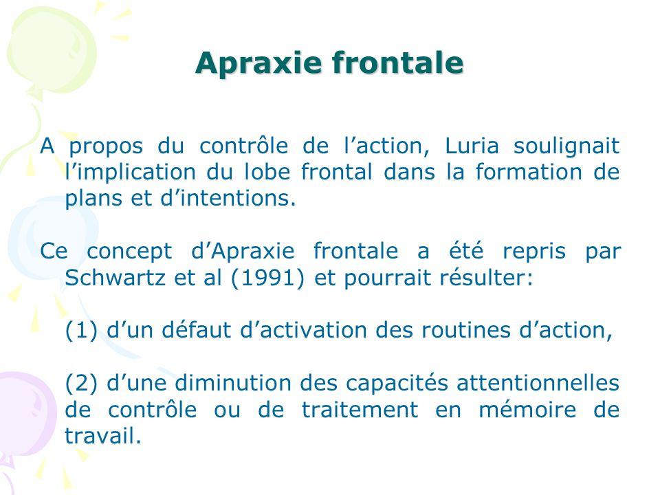Apraxie frontale A propos du contrôle de l'action, Luria soulignait l'implication du lobe frontal dans la formation de plans et d'intentions.