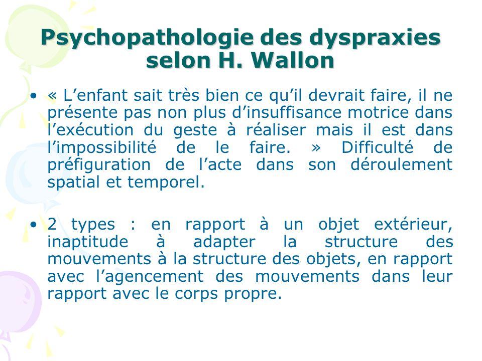 Psychopathologie des dyspraxies selon H. Wallon