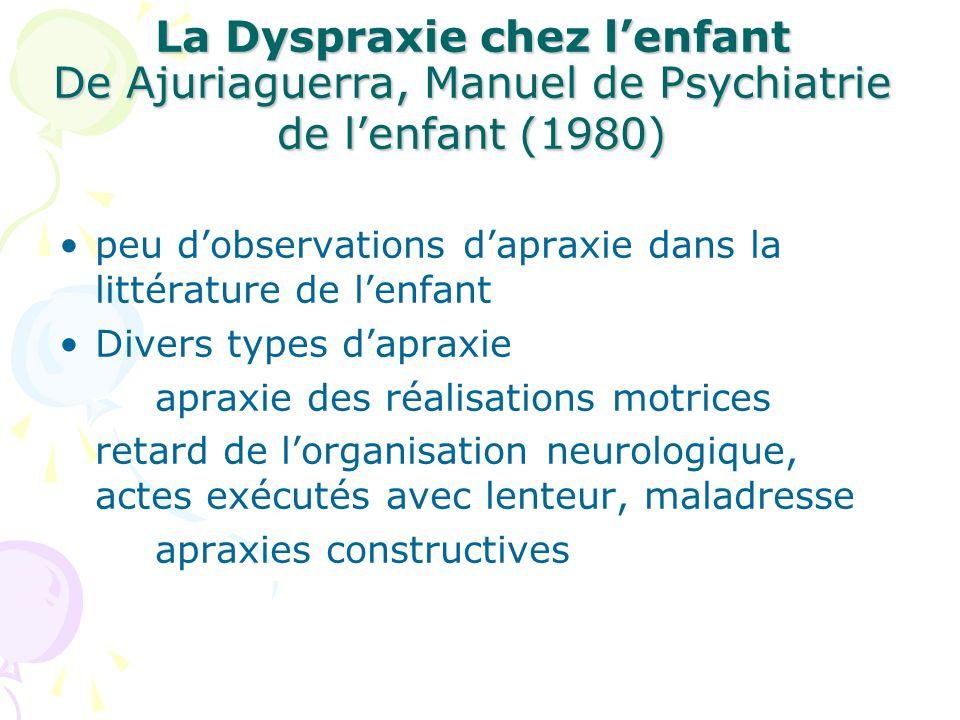 La Dyspraxie chez l'enfant De Ajuriaguerra, Manuel de Psychiatrie de l'enfant (1980)