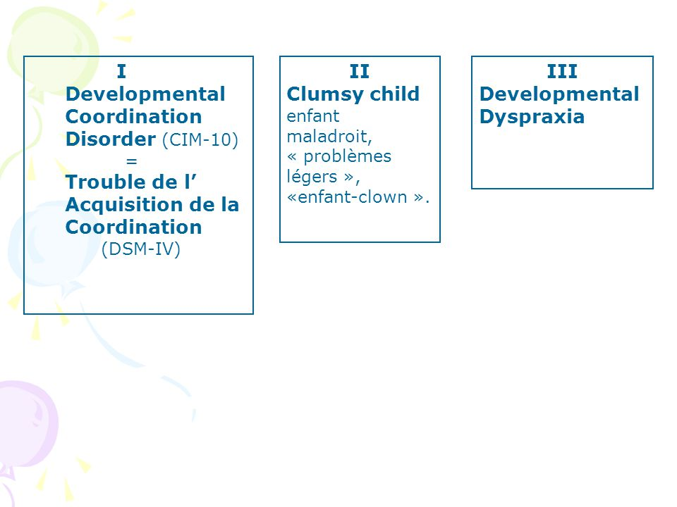 I Developmental Coordination Disorder (CIM-10) Trouble de l'