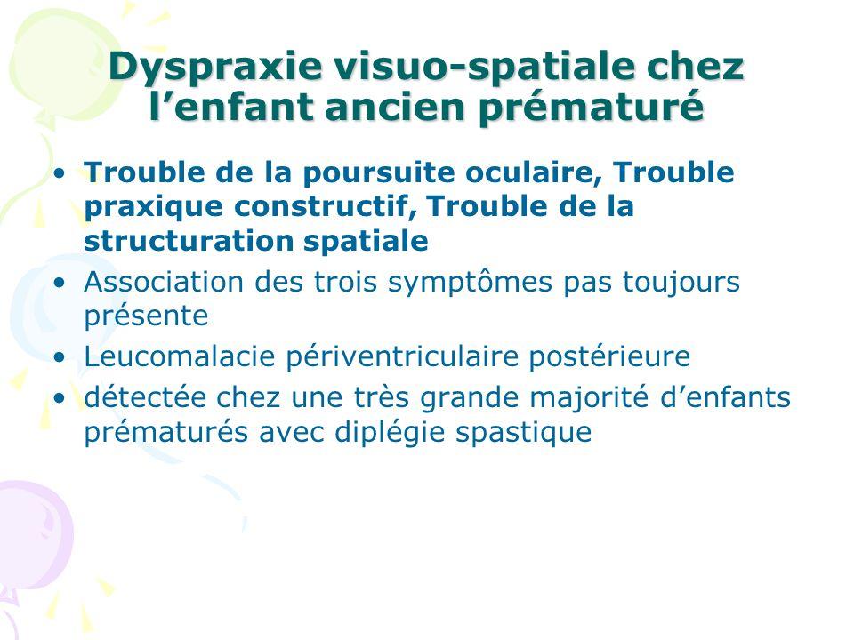 Dyspraxie visuo-spatiale chez l'enfant ancien prématuré