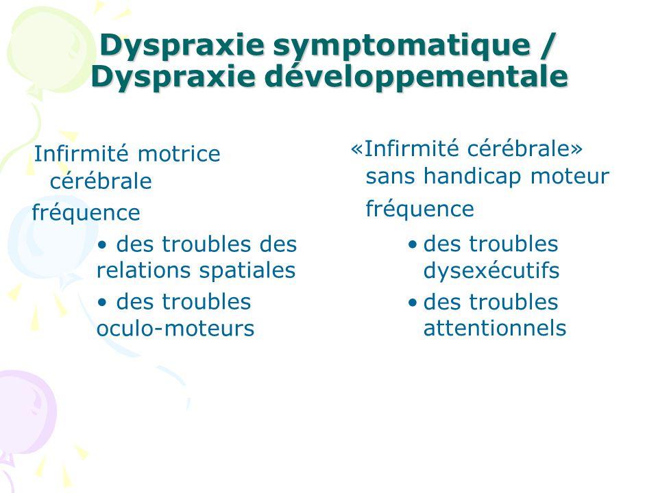 Dyspraxie symptomatique / Dyspraxie développementale