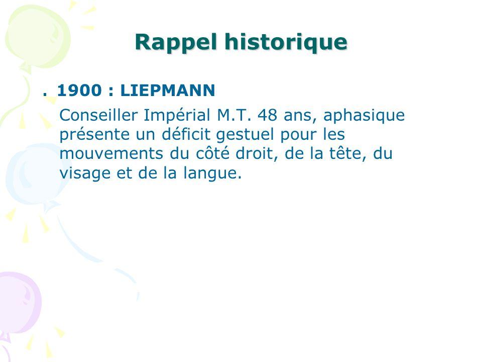Rappel historique . 1900 : LIEPMANN
