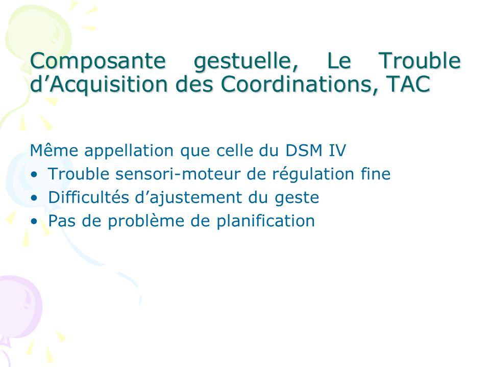 Composante gestuelle, Le Trouble d'Acquisition des Coordinations, TAC