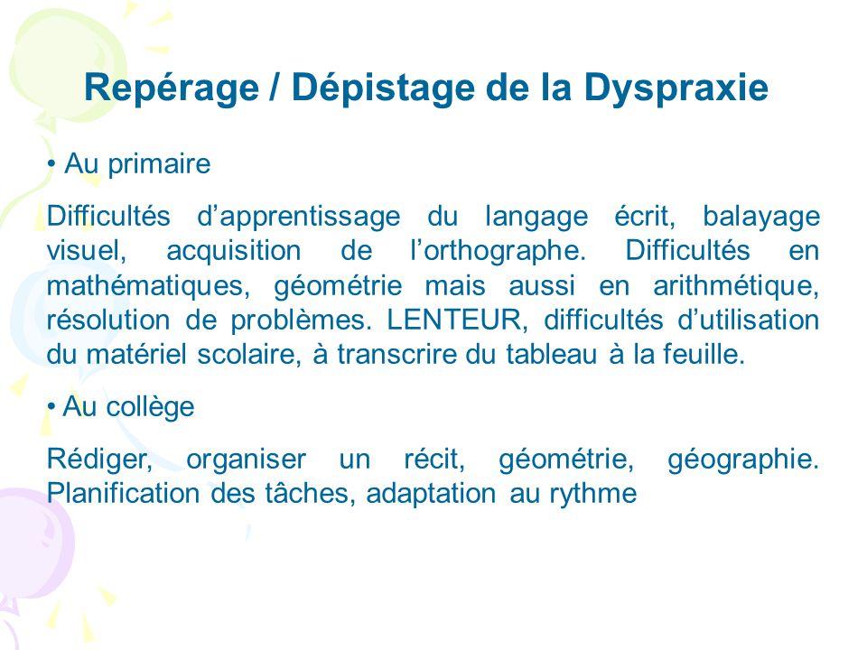 Repérage / Dépistage de la Dyspraxie