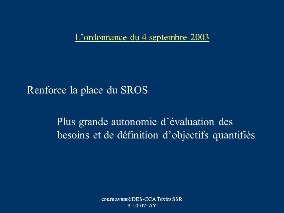 L'ordonnance du 4 septembre 2003