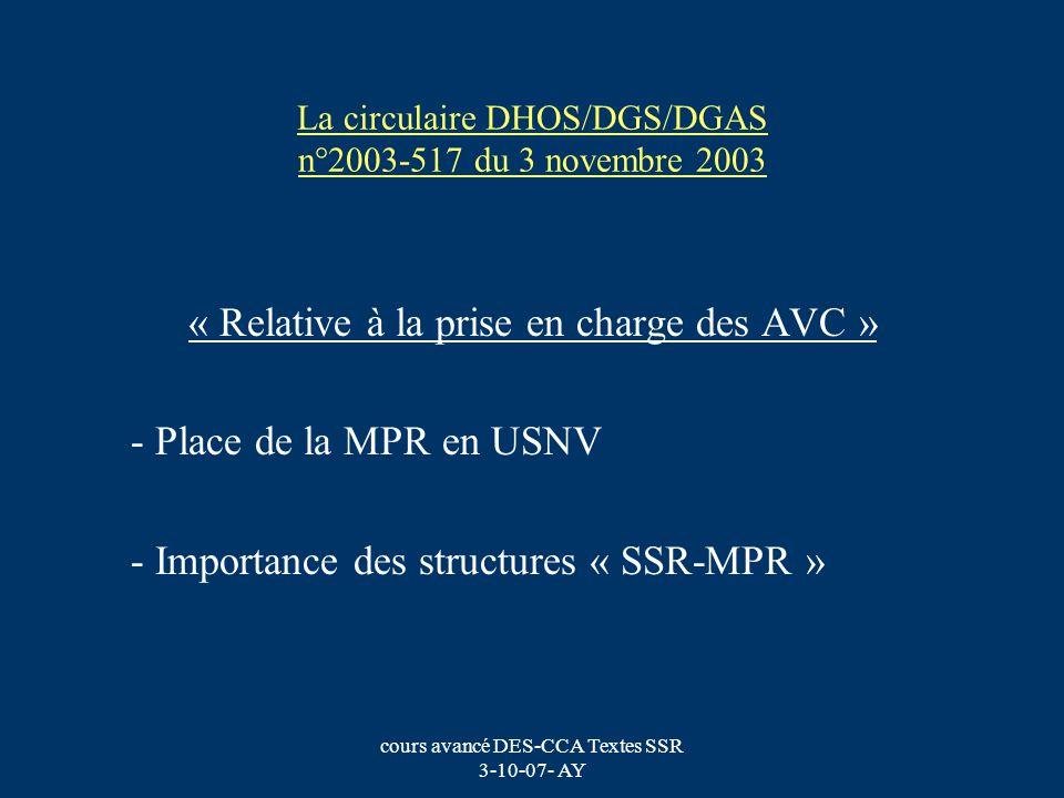 La circulaire DHOS/DGS/DGAS n°2003-517 du 3 novembre 2003