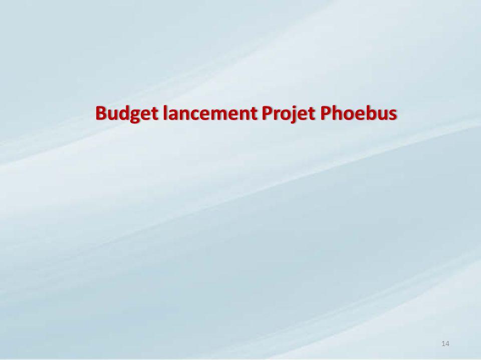 Budget lancement Projet Phoebus
