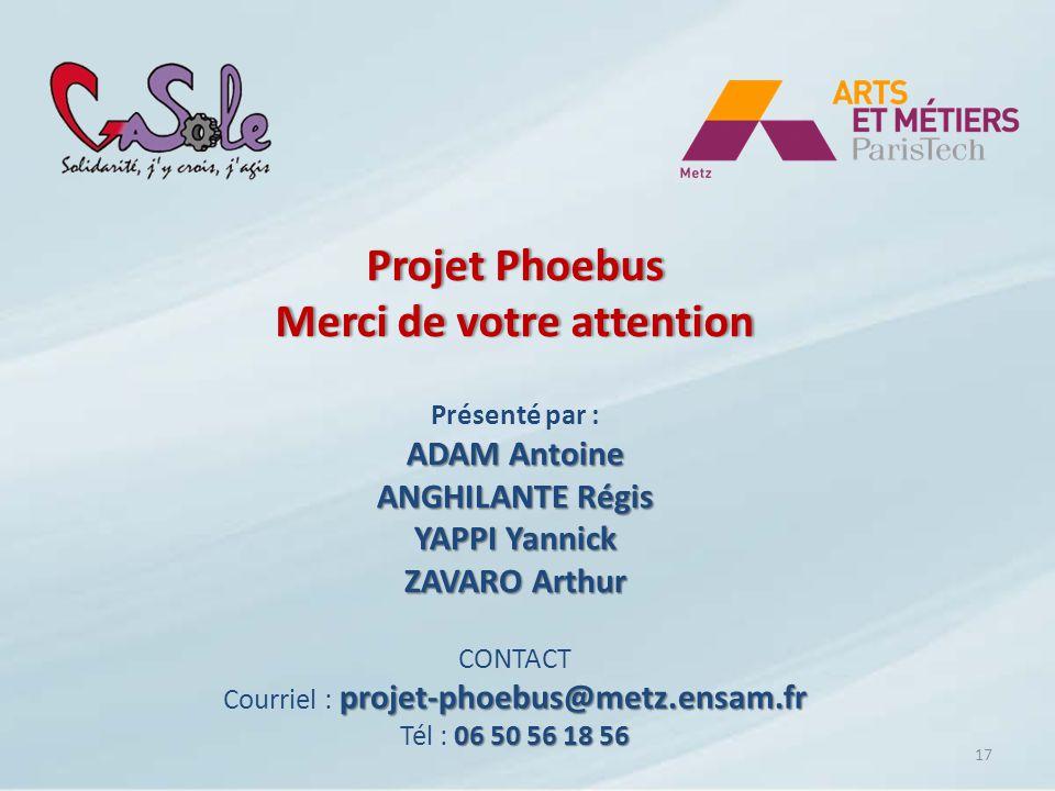 Projet Phoebus Merci de votre attention