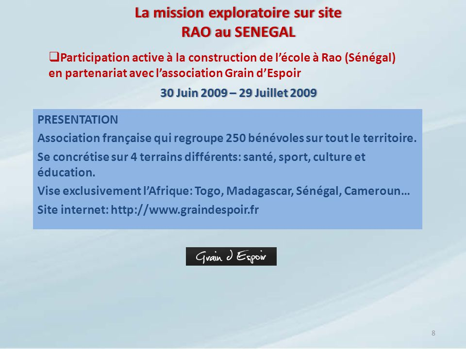 La mission exploratoire sur site RAO au SENEGAL