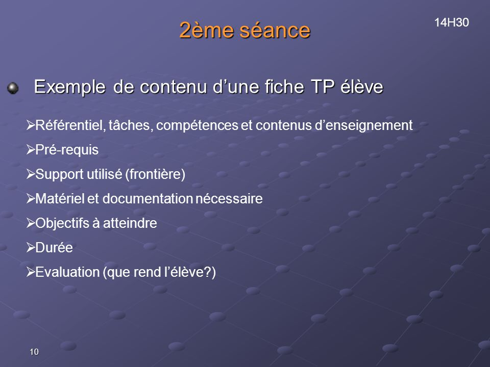 2ème séance Exemple de contenu d'une fiche TP élève