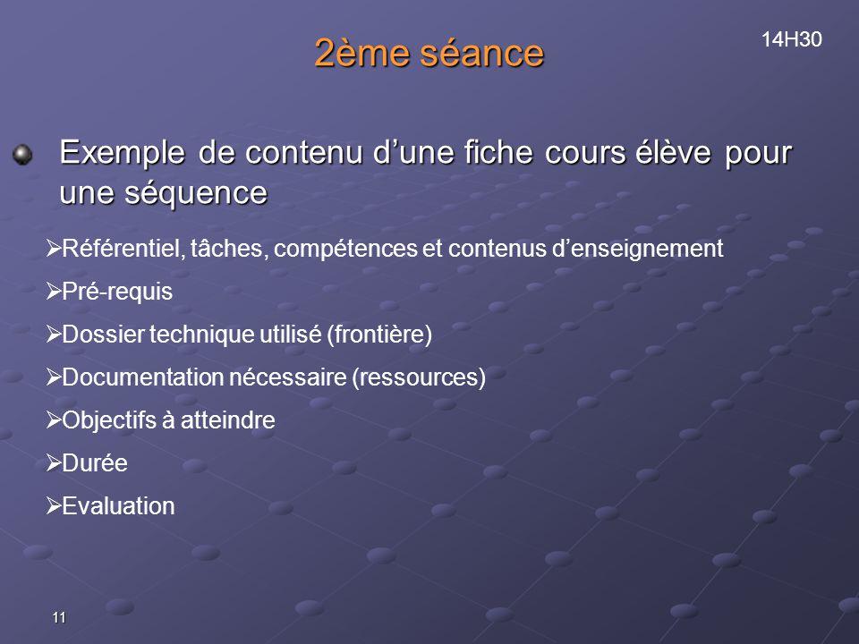 2ème séance Exemple de contenu d'une fiche cours élève pour une séquence. 14H30. Référentiel, tâches, compétences et contenus d'enseignement.