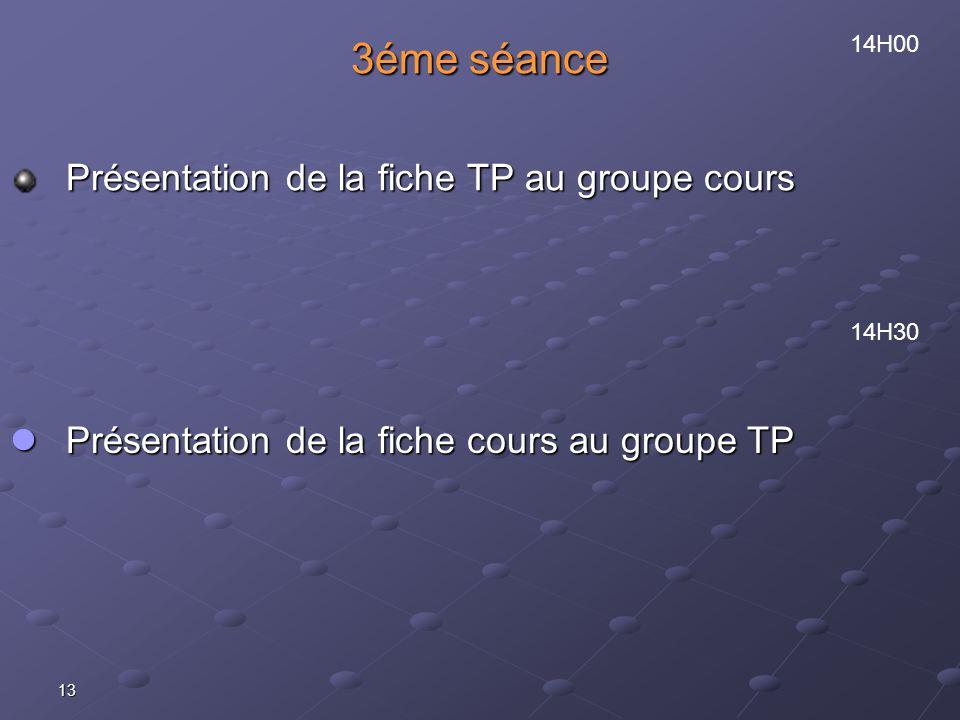 3éme séance Présentation de la fiche TP au groupe cours